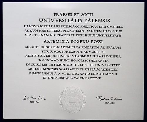 UNIVERSITATIS YALENSIS diploma