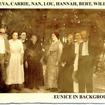 Ben Casey, Eva Casey-Handley, Carrie Casey-Harrell, Nan Casey-Tingle, Lou Casey-Edwards, Hannah Casey, Bertha Casey, and William Casey; ca 1920