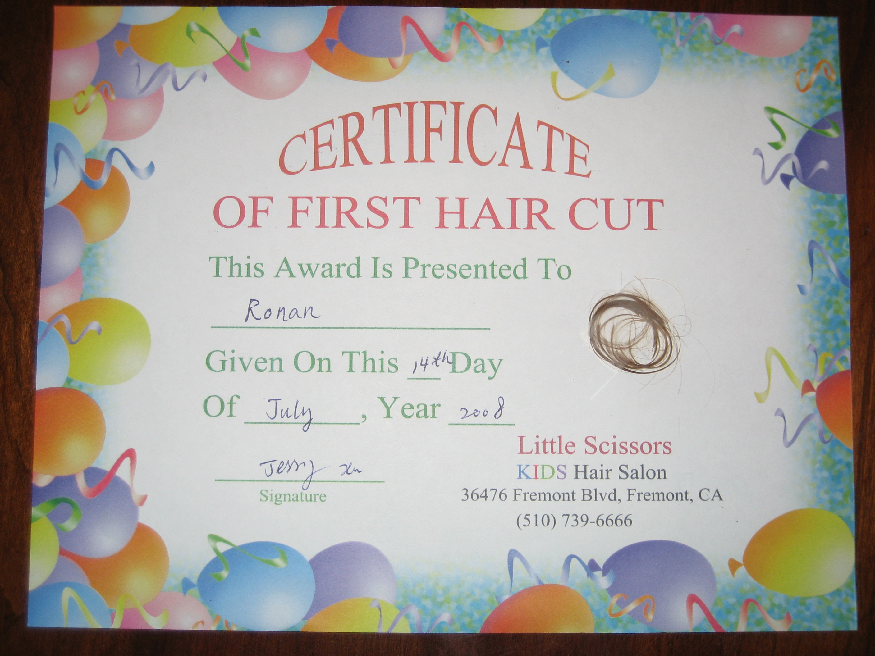 First hair cut certificates hot girls wallpaper for My first haircut certificate template