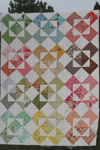 A colorful quilt top