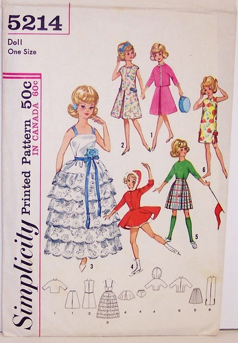 Vintage Simplicity Pattern 5214 Barbie Doll 12 Inch Doll Wardrobe Hooded Jacket, skirt, formal, skating skirt, dress, evening dress, kilt, inverted pleat skirt, 60s