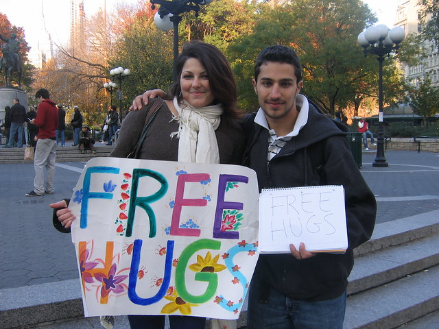 My first free hug!