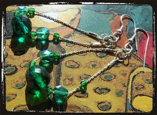 Orecchini fatti a mano color smeraldo - Emerald Green Handmade Earrings ARHCSM