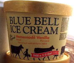 Blue Bell Homemade Vanilla ice cream, half gallon