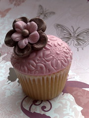 Chocolate Brown & Pink Cupcake