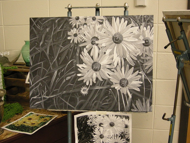 black white flower drawings