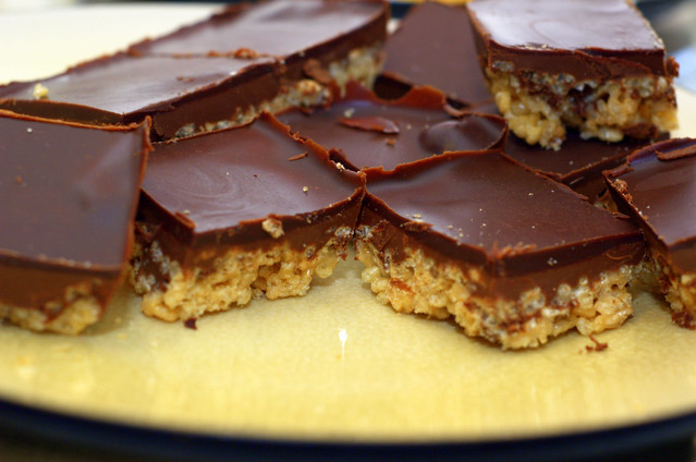 peanut butter and chocolate rice crispy bars | Flickr - Photo Sharing!