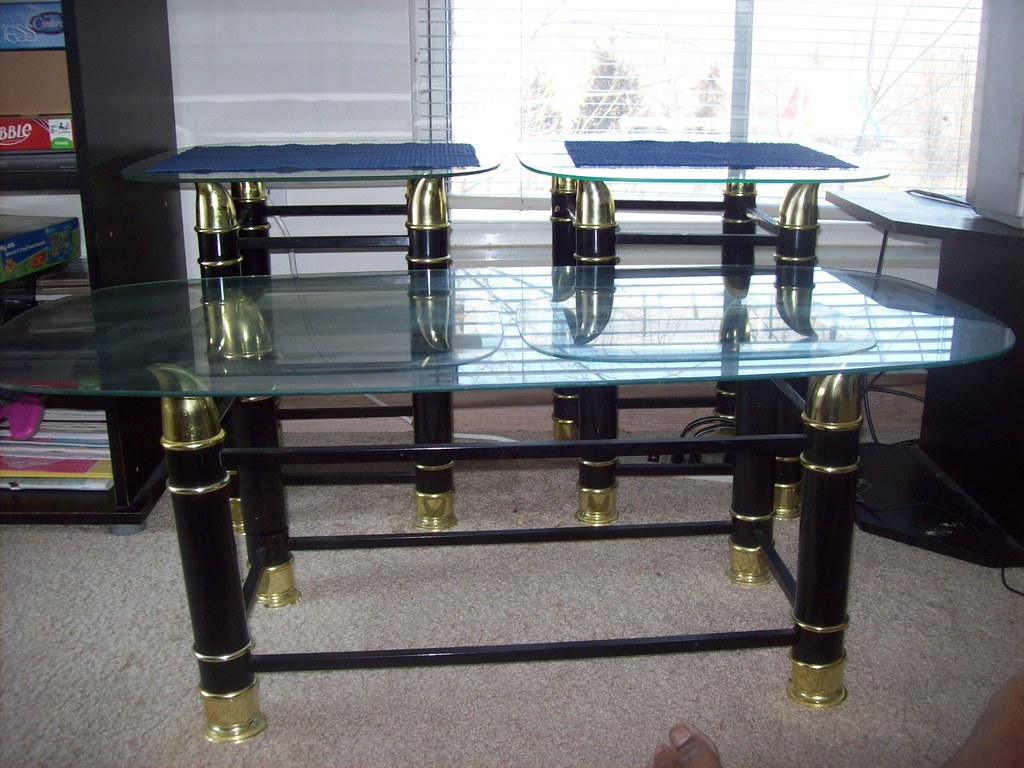 glass top side and center table - $15