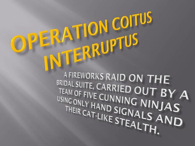 Wedding videos operation coitus interruptus flickr for Coito interruptus