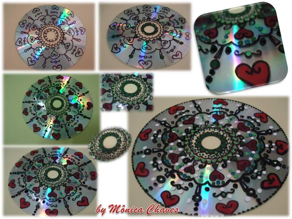 Artesanato Garrafa Pet Como Fazer ~ Casulo das Artes Mandala em CD reciclado Passo a Passo