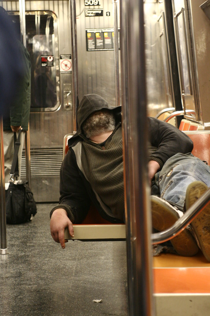 Homeless in NY subway