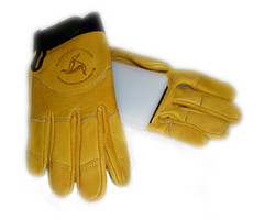 safety glove, yellow, leather, glove,