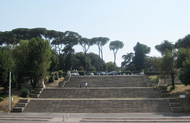 across the street from Galleria Nazionale d'Arte Moderna. turned out to be steps leading up to the borghese gardens.