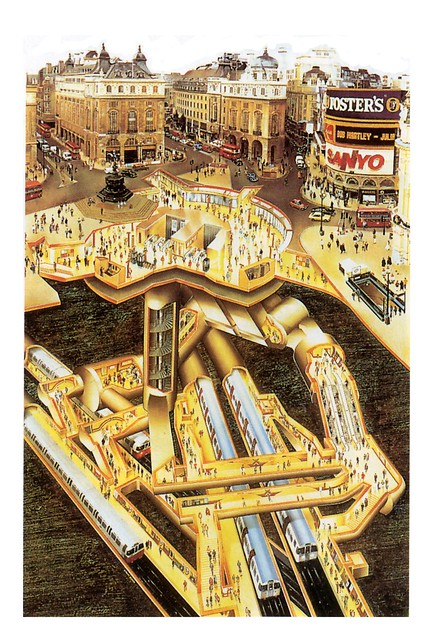 Piccadilly Circus cutaway view by magpie-moon