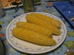 meal(0.0), breakfast(0.0), fish(0.0), dish(0.0), sweet corn(1.0), vegetarian food(1.0), maize(1.0), corn on the cob(1.0), produce(1.0), food(1.0), corn on the cob(1.0), cuisine(1.0),