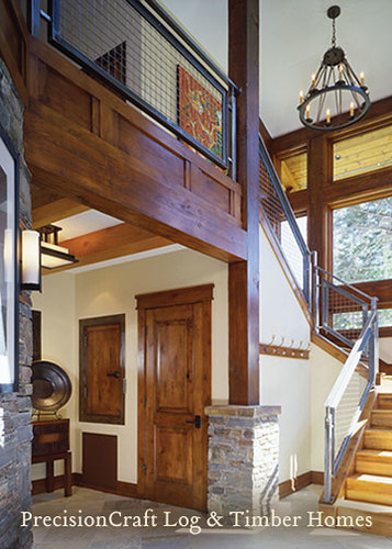 Entrance to a Custom Timber Frame Home | PrecisionCraft Timber Frame Homes