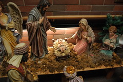 carving(0.0), christmas decoration(0.0), toy(0.0), decor(1.0), wood(1.0), mythology(1.0), manger(1.0), christmas(1.0), nativity scene(1.0),