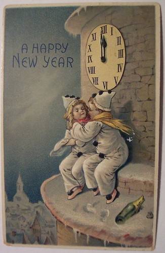 Vintage New Years Postcard by riptheskull