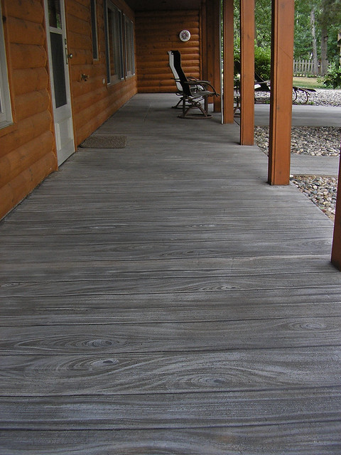 Faux Wood Stamped Concrete Floors : Faux wood finish on concrete patio a photo flickriver