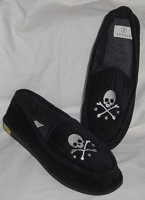 642057192db Young Mens Skull   Bones Black Corduroy Slippers from Rock Steady Clothing.  A Best Selling Slipper for 2 years running. Only a few pairs left in SMALL  only.