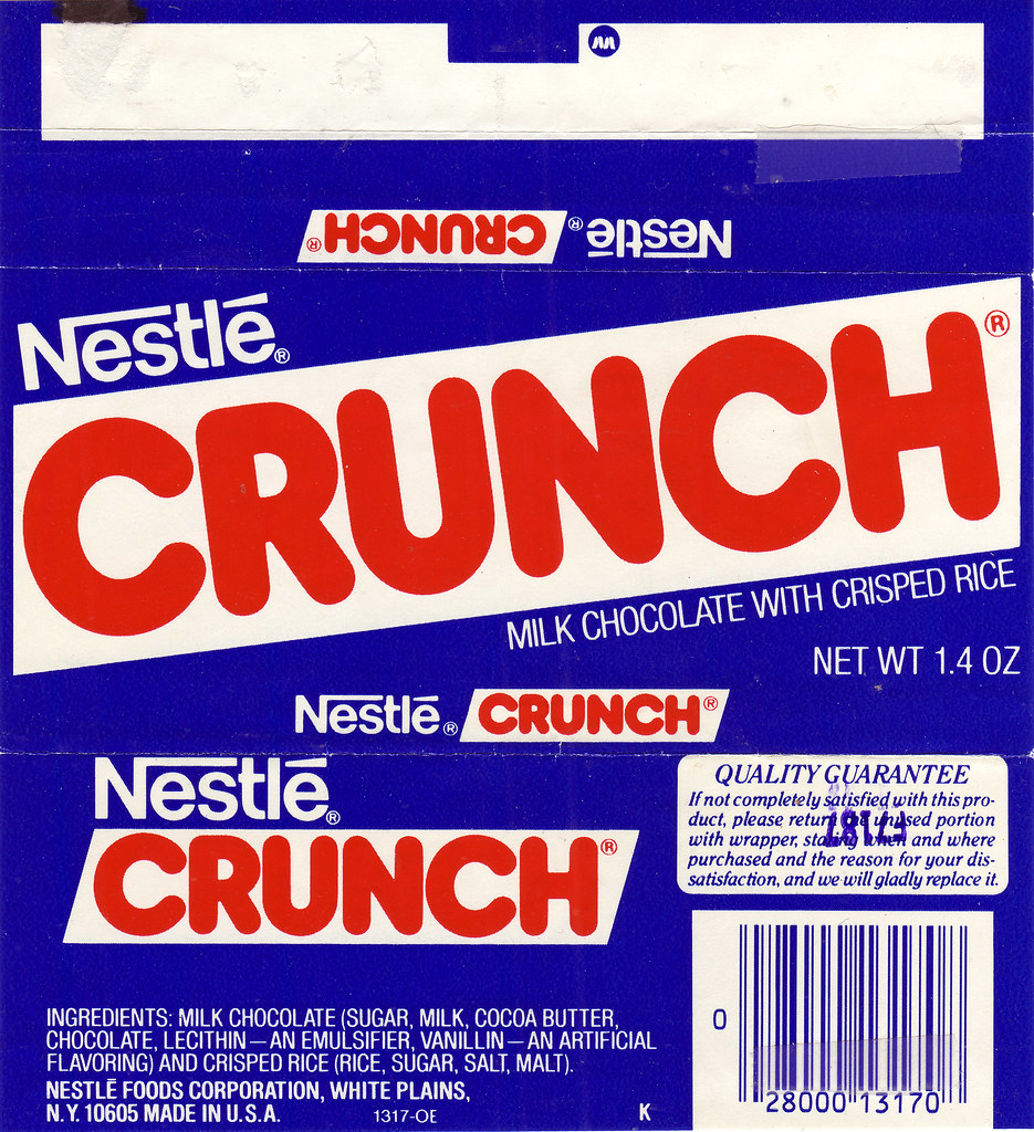 nestle crunch candy bar wrapper - 1980s