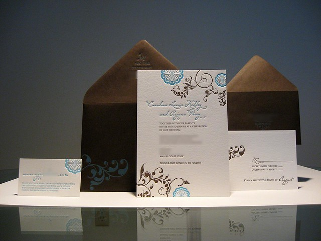 This custom letterpress printed wedding invitation set included a flat A7