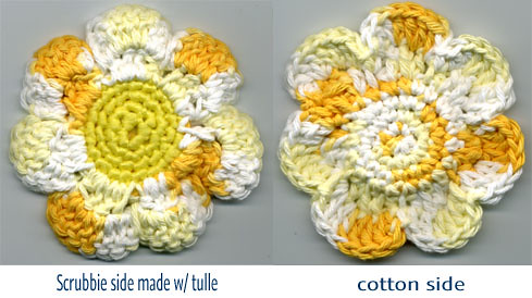 Crocheted flower tawashi scrubbie