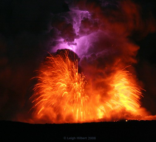 Lava Blast and Electric Lightning Bolt Within Moonlit Lava Plume #1