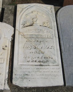 John White - buried in 1892 at the Jaffa Cemetery, Malahide, Elgin, Ontario, Canada