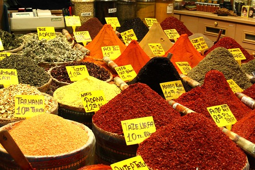 Mounds and heaps of spices in the Spice Market, Istanbul, Turkey