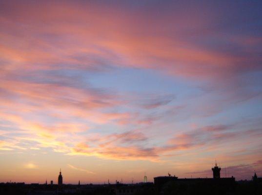 pink sky over Helsinki