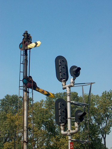 The old steam era manual semaphore signals that used to operate at Brighton Junction. Chicago Illinois. September 2006. by Eddie from Chicago
