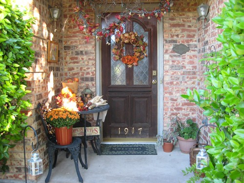 There is no place like home autumn front porch for Front porch table ideas