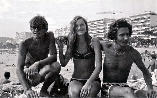 euro0062a Beach Scene Teenagers, Cannes France 1969