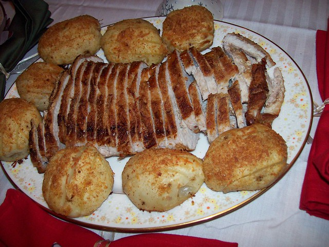 Christmas dinner roast pork fillet with hasselback potatoes flickr photo sharing - Christmas pork roast five recipes ...