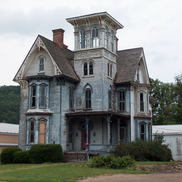 Spooky house with tower flickr photo sharing for Homes with towers