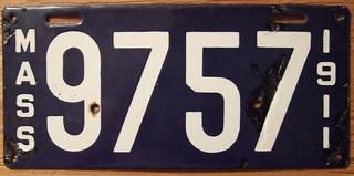 MASSACHUSETTS 1911 LICENSE PLATE