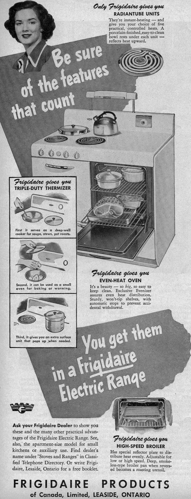Vintage Ad #559: Be Sure of the Features on your Frigidaire Stove