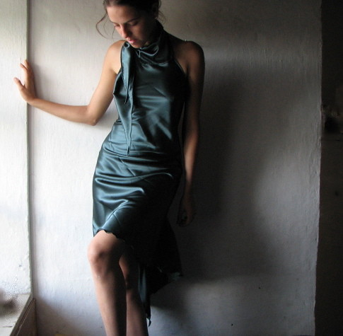 teal swallowtail satin dress