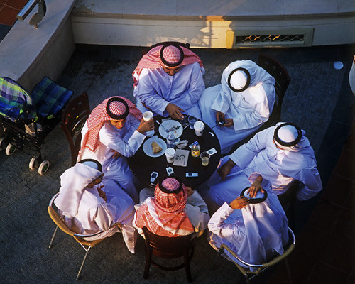 Top View of Arab Men Having a Meal Together