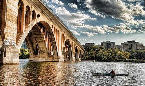 city bridge sky cloud water dc washington kayak capital georgetown crescent trail