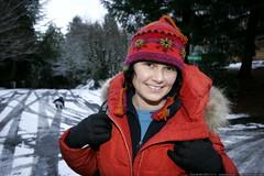 rachel on the icy road, modeling wool hat & orange j…
