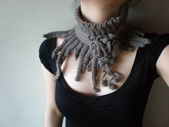 Elan ... Knitted Neckwarmer / Scarflette - Taupe