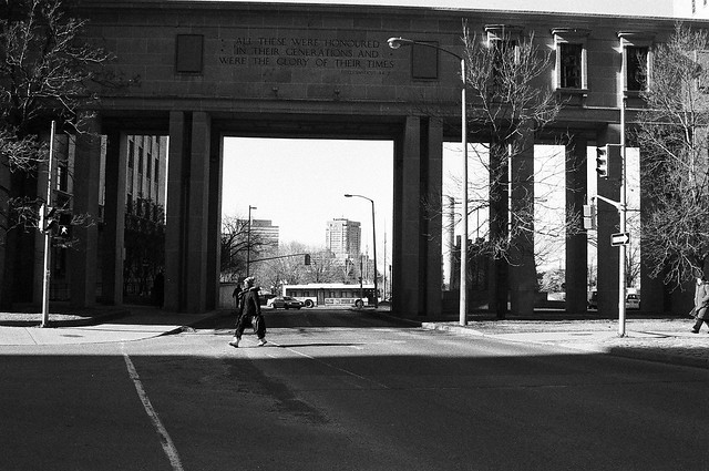 The Memorial Arch in Ottawa in black-and-white.