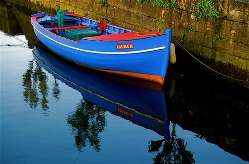 blue ireland sunset red galway harbor boat sundown pfboat