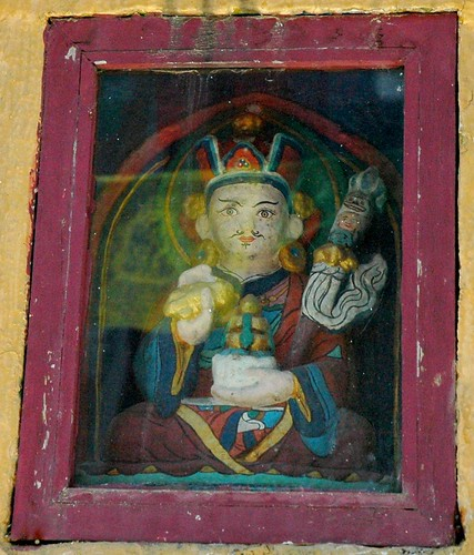 Detail - Padmasambhava statue, enlightened stare, in a stupa east side, Boudha, Kathmandu, Nepal by Wonderlane