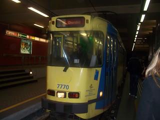 underground shot of Brussels tram