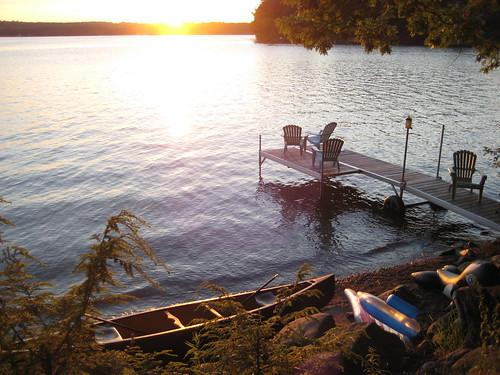 sunset dock maine canoe fourthofjuly adirondackchair threemilepond thibo southchinamaine campthibodeau chinalakes