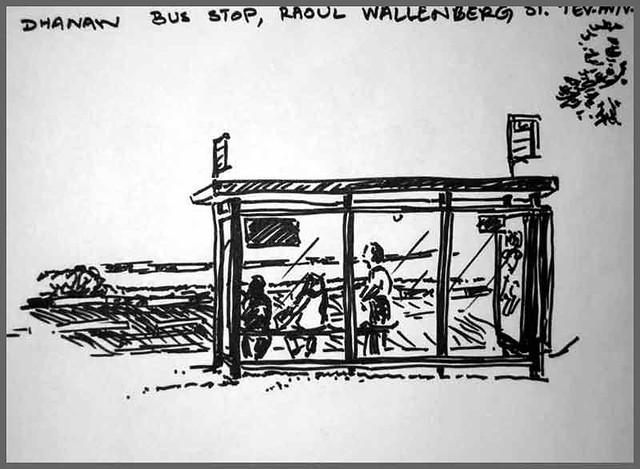 [Drawing] Bus waiting shed, Raoul Wallenberg St. Tel Aviv. 9 July 2008.