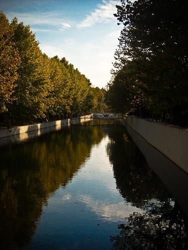 bridge blue light sky sun white reflection tree green portugal water rio horizontal wall river dark mirror leaf lis leiria